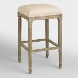 Natural Linen Paige Backless Barstool - Fabric by World Market