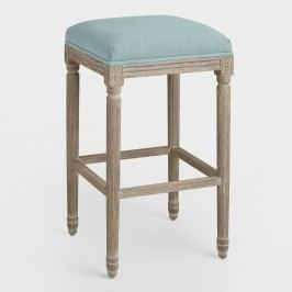Blue Linen Paige Backless Barstool: Black/Blue - Fabric by World Market