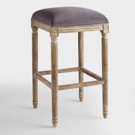 Plum Velvet Paige Backless Barstool: Purple - Fabric by World Market