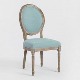 Blue Linen Paige Round Back Dining Chairs,  Set of 2 - Fabric by World Market