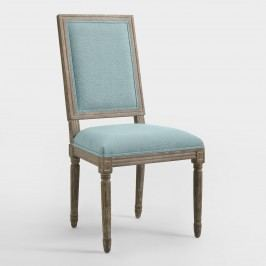 Blue Linen Square-Back Paige Dining Chairs, Set of 2 - Fabric by World Market