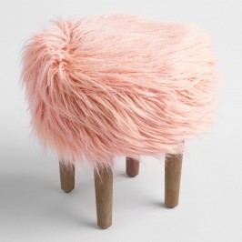 Blush Flokati Stool: Pink by World Market