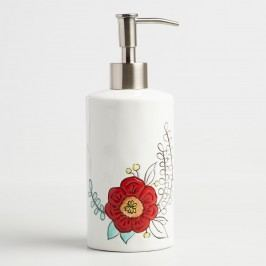Painted Flower Ceramic Soap Dispenser: White by World Market