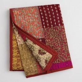 Spice Patchwork Sari Throw: Pink by World Market