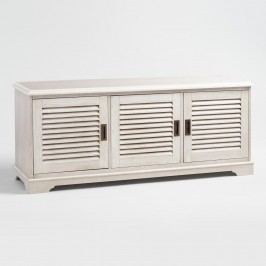 Whitewash Wood Media Stand with Louvered Door by World Market