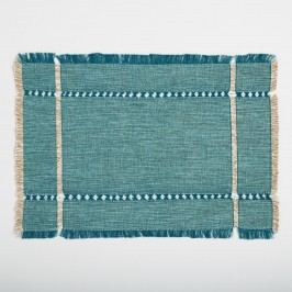 Teal Melange Khadi Placemats Set of 4: Blue - Cotton by World Market