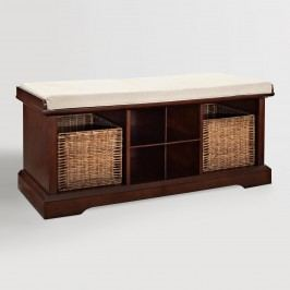 Mahogany Wood Emlyn Entryway Storage Bench: Brown by World Market