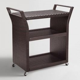 Espresso All Weather Wicker Pinamar Outdoor Patio Rolling Bar Cart: Brown by World Market