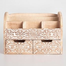Large Hand Carved Wood Gianna Desk Organizer: White by World Market