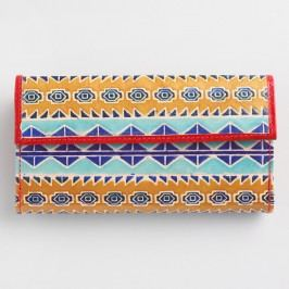 Yellow Geometric Leather Wallet: Yellow/Multi by World Market