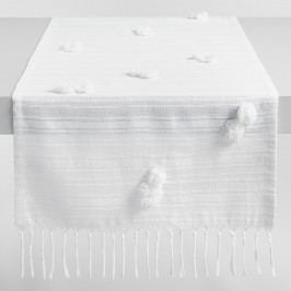White Pom Pom Naomi Table Runner - Cotton by World Market