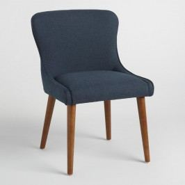 Navy Zarah Petite Wingback Upholstered Chairs Set of 2: Blue - Fabric by World Market