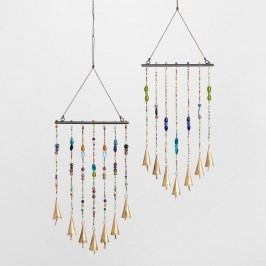Beaded Iron Wind Chimes Set of 2: Blue/Green/Multi - Glass by World Market