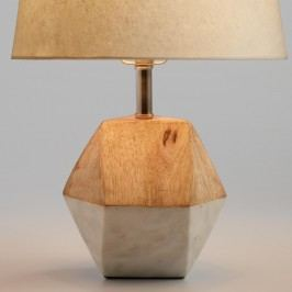 White Marble and Wood Liam Accent Lamp Base: White/Natural by World Market