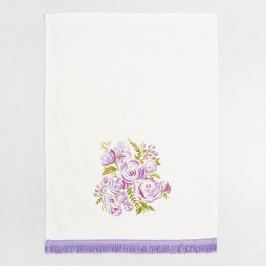Purple Bouquet Fringed Kitchen Towel: Purple/White - Cotton by World Market