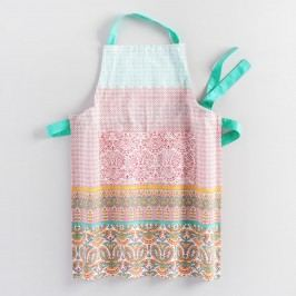 Coral and Aqua Preeti Striped Apron: Orange/Pink - Cotton by World Market