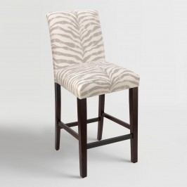 Tropo Cloud Zebra Stripe Kerri Upholstered Barstool - Fabric by World Market