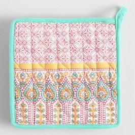 Coral and Aqua Preeti Striped Potholders Set of 2: Orange/Pink - Cotton by World Market