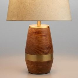 Walnut Wood and Antique Brass Carter Accent Lamp Base: Natural by World Market