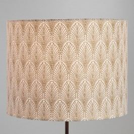 Gold Fan Cotton Drum Table Lamp Shade: White/Gold by World Market