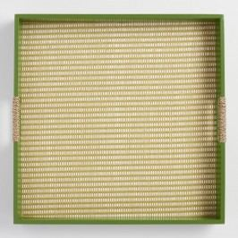 Green Painted Wood and Rattan Tray by World Market