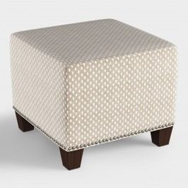 Flax Brown Sahara Chalk McKenzie Upholstered Ottoman: Brown/Natural by World Market