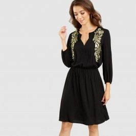 Black and Gold Embroidered Lindsay Dress: Black/Gold - Lgxlg by World Market Lgxlg