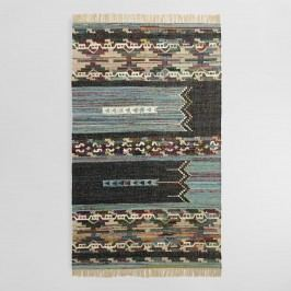 5'x8' Blue and Black Cotton Chindi Kilim Amadi Area Rug by World Market