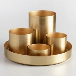 Gold 4 Cup Kiara Desk Organizer with Tray by World Market
