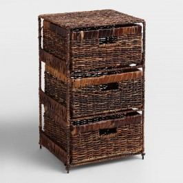 Madras 3-Drawer Tower: Brown - Natural Fiber by World Market