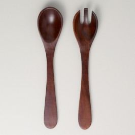 Angled Wood Salad Servers, Set of 2: Brown by World Market