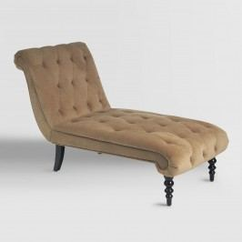Coffee Victoria Velvet Tufted Chaise: Brown - Fabric by World Market