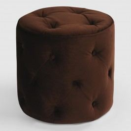 Chocolate Tufted Velvet Ottoman: Brown - Fabric by World Market