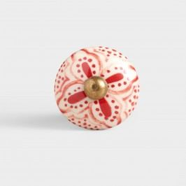 Red Basic Ceramic Floral Knobs, Set of 2 by World Market
