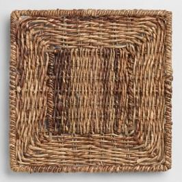 Square Madras Chargers, Set of 4: Brown - Natural Fiber by World Market