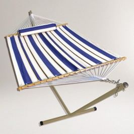 Blue Stripe Single Hammock with Stand & Pillow - Fabric by World Market