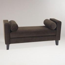 Chocolate Velvet Taylor Bench with Bolsters: Brown - Fabric by World Market