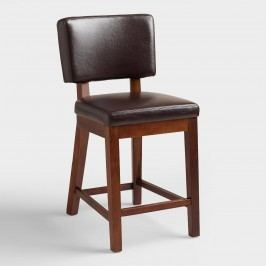 Espresso Bonded Leather Sophia Counter Stools Set of 2: Brown - Fabric by World Market