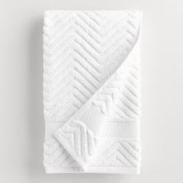 White Chevron Spa Hand Towel - Cotton by World Market