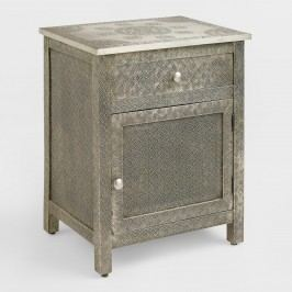 Kiran Embossed Metal Cabinet: Silver by World Market