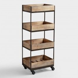 4-Shelf Wooden Gavin Rolling Cart: Natural - Metal  by World Market
