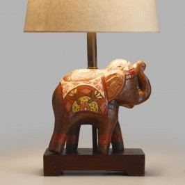Indian Elephant Accent Lamp Base: Brown/Multi - Wood by World Market
