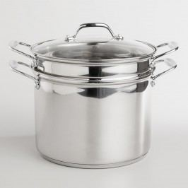 Stainless Steel Pasta Pot with Tempered Glass Lid: Silver by World Market