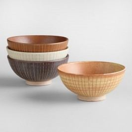 Fuji Lines Rice Bowls, Set of 4: Multi - Stoneware by World Market