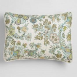 Indian Floral Alisha Pillow Shams, Set of 2: Blue/Gray - Cotton - King Sham by World Market King
