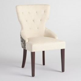 Black Floral and Linen Maxine Dining Chair: Black/Gray/Natural - Fabric by World Market