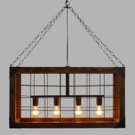 Rectangular Farmhouse Pendant Lamp: Brown - Wood by World Market