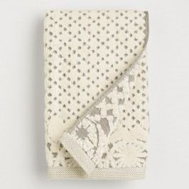 Lattice Sculpted Hand Towel: Gray - Cotton by World Market