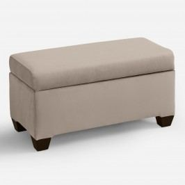 Velvet Pembroke Upholstered Storage Bench: Gray - Fabric - Pewter by World Market Pewter