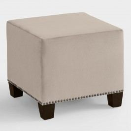 Velvet McKenzie Upholstered Ottoman - Fabric - White by World Market White